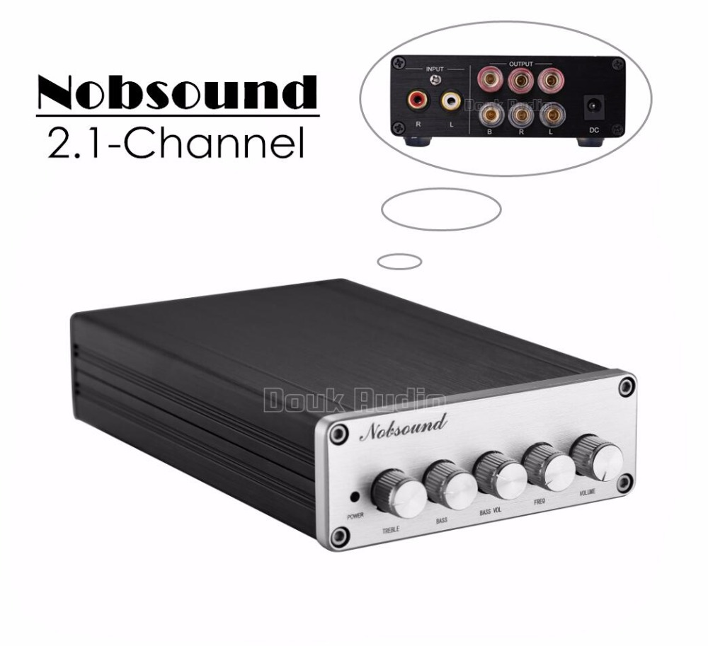 2017 New Nobsound HiFi 2.1 Channel Audio Power Amplifier Stereo Amp 2*50W+100W Subwoofer 2017 new nobsound hifi 100w mini tpa3116 bluetooth 4 0 digital amplifier amp power supply free shipping