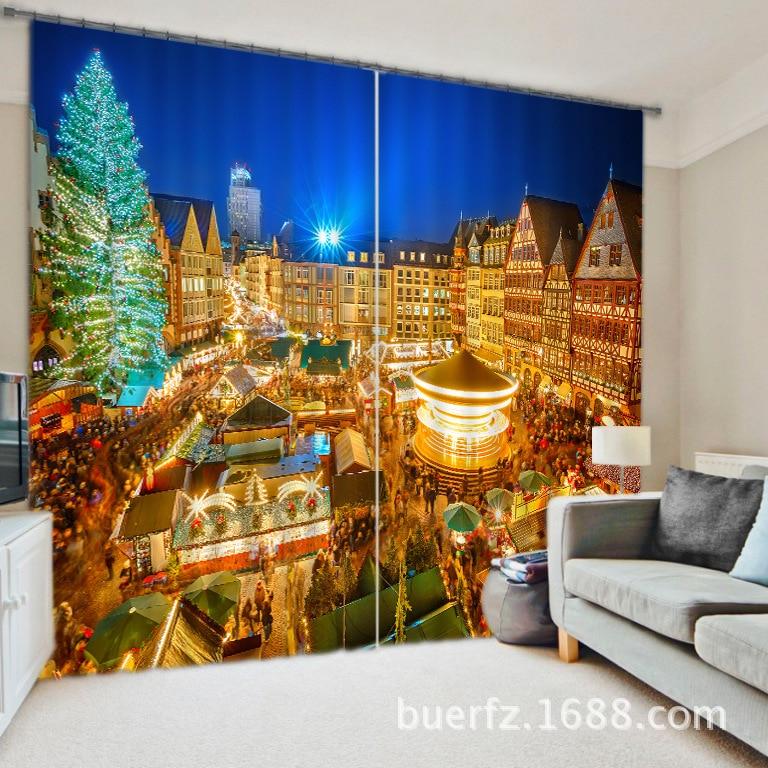 Krásný noční pohled Luxusní 3D zatemňovací závěsy do obývacího pokoje Ložnice Povlečení Cotinas para sala pro Chirstmas dekorativní