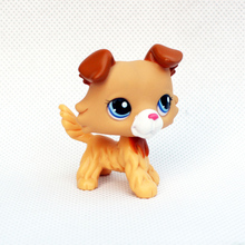 Cute pet shop lps toys action figure Rare Animal collie #2452 little yellow Brown dog with blue eyes