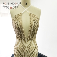 Rose Moda Sexy Bling Gold Sequined Mermaid Prom Dress Backless Prom Dresses 2017
