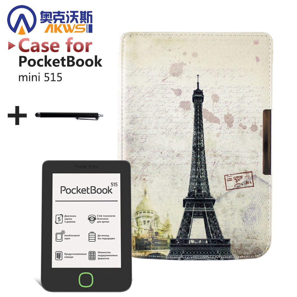 Folio PU leather cover case Magnetic art slim painting cover case for PocketBook mini 515 ereader+stylus pen as gift folio pu leather cover case classic stand protective cover case for pocketbook 840 inkpad 2 ereader