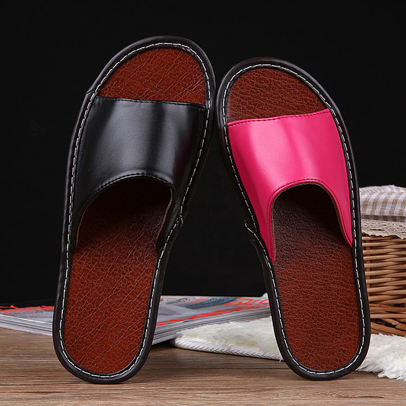 STONE VILLAGE High Quality Summer Leather Slippers Shoes Non-Slip Indoor Home Slippers Couple Men And Women Slippers Shoes 1