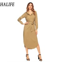 HALIFE Women Turn Down Collar Vintage Long Shirt Dress Fashion Long Sleeve Full Length Maxi Dress