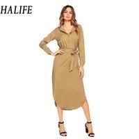 HALIFE Women Turn Down Collar Vintage Long Belted Blouse Shirt Dress Fashion Long Sleeve Maxi Dress