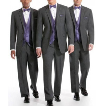Three Piece Gray Wedding Groomsmen Tuxedos 2018 Purple Vest Notched Lapel Classic Fit Business Men Suits (Jacket + Pants Vest)