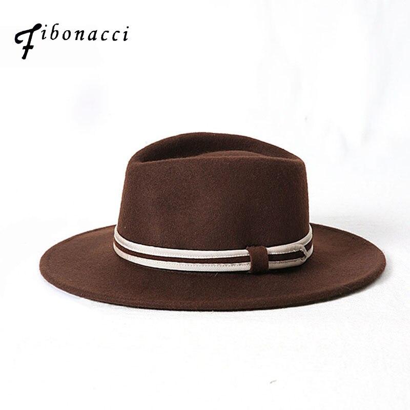 Fibonacci Otoño Invierno ala ancha Fedora hombres marrón Jazz sombrero ala  plana fieltro gorra Trilby lana 3e3dc542797