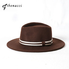 Fibonacci Autumn Winter Wide Brim Fedora Men Brown Jazz Hat Flat Brim felt Cap Trilby Wool Bowler Topi untuk Wanita Hat Yahudi