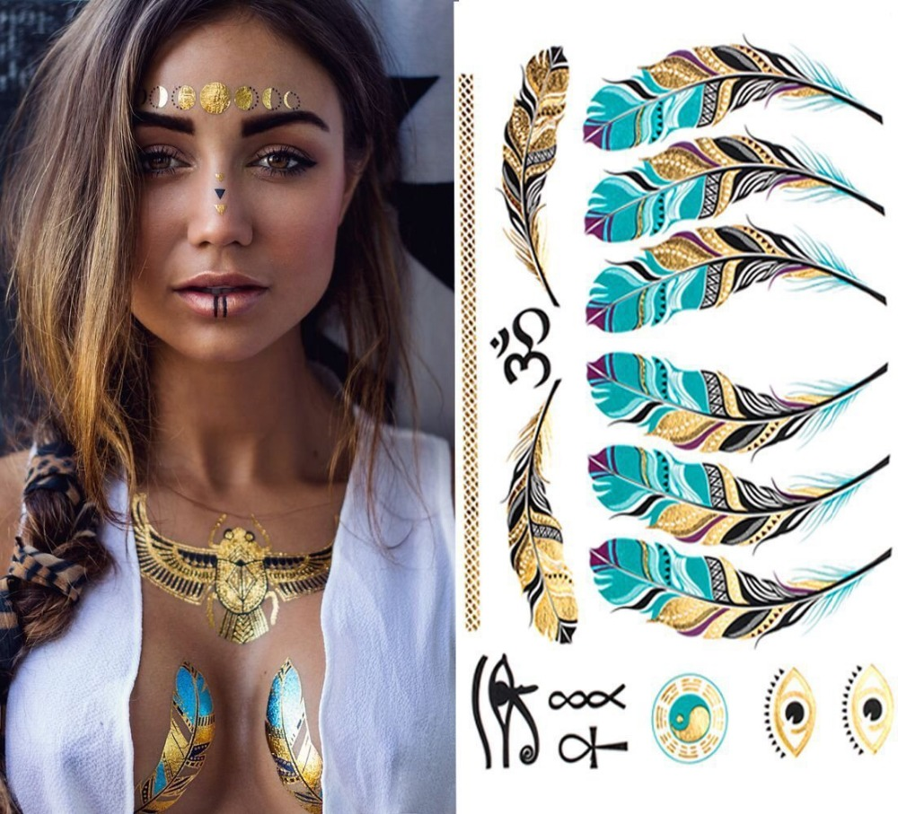 2018 hot sales Free shipping DIY Flash Tattoos Gold Silver Metal Temporary Tattoo feathe ...