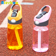 400ml Plastic Transparent Sports Water Bottle Straw Bottle BPA Free Portable Drinking Bottle for Water Running