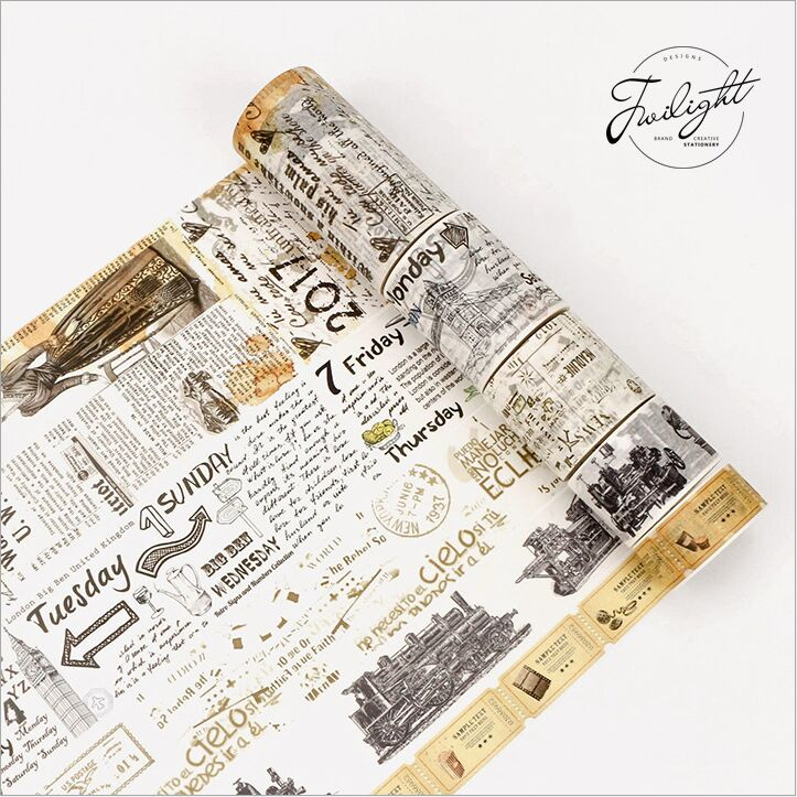 Retro Old Newspaper Ticket Nostalgic Memory Of The Old Days Decoration washi tape DIY Planner Diary Scarpbooking Masking Tape