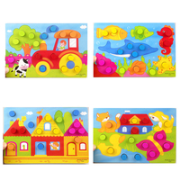 4 Style/Set Colorful Cognition Board Kids Montessori Educational Toy Children Wooden Jigsaw Color Match Game Board Puzzles Child