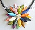 Многоцветный Длинный Овальный Sea Shell Один Цветок Блум Ожерелье