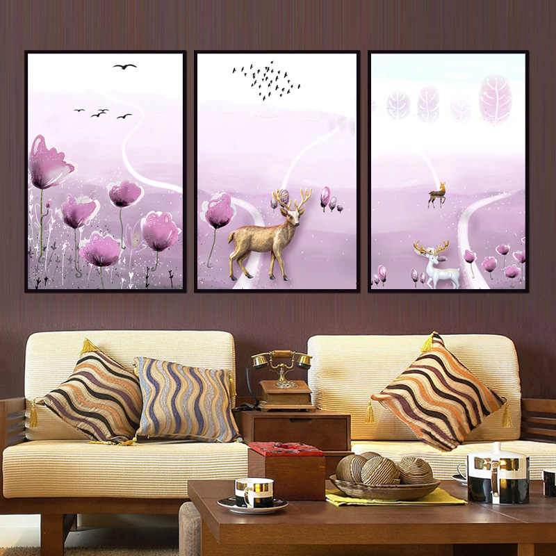 Factory wholesale (No Framed) Elk Landscape Series art Canvas Print On Canvas Printing Wall Pictures 12YM-A-742