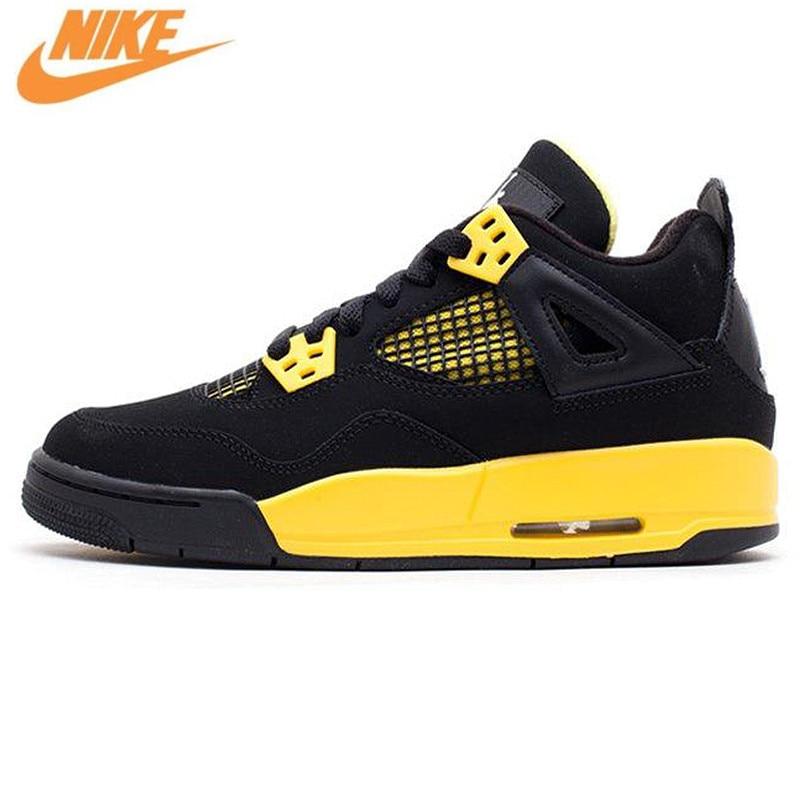 Nike Air Jordan 4 Retro Thunder Men's Basketball Shoes, Original Shock-absorbing Sneakers 308497 008