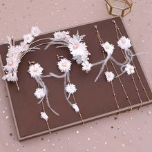 Korean Fairy White Flower Handmade Weave Hairband with Long Feather Tassels Earrings Bride Wedding Hair Accessories Jewelry Sets(China)
