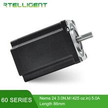 Rtelligent Factory Outlet 3D Printer Stepping Motor 4 Lead Nema24 Stepper Motor 60 Motor 60A3 5.0A(425 oz.in) for CNC XYZ Motor