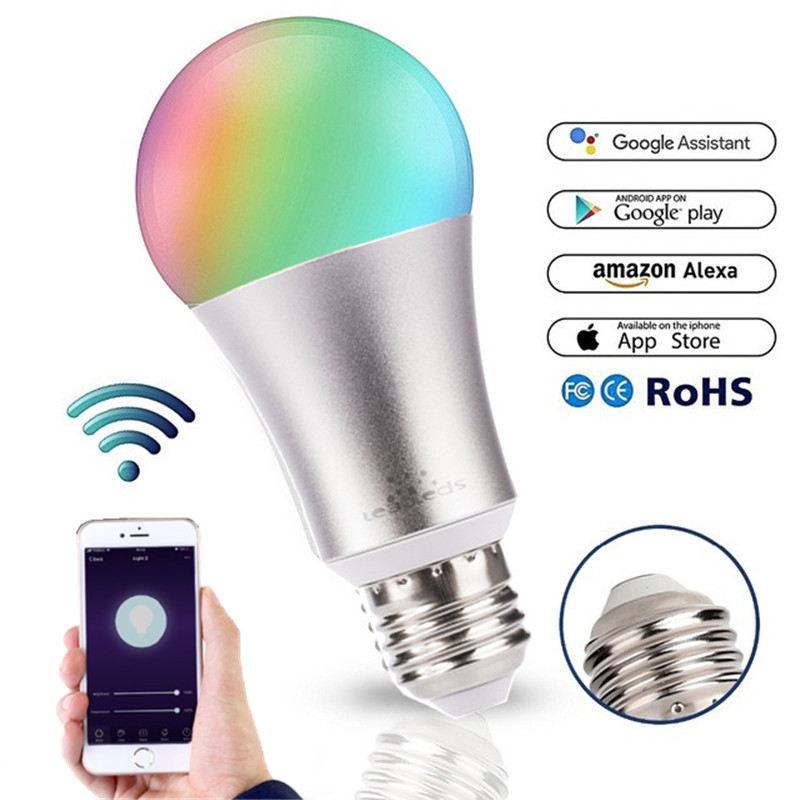 2019 New Meta 7W RGB LED WIFI Smart Bulb Ball Lamp E27 Dimmable Color LED Light Bulb Works With Alexa Google Home IOS App Contro
