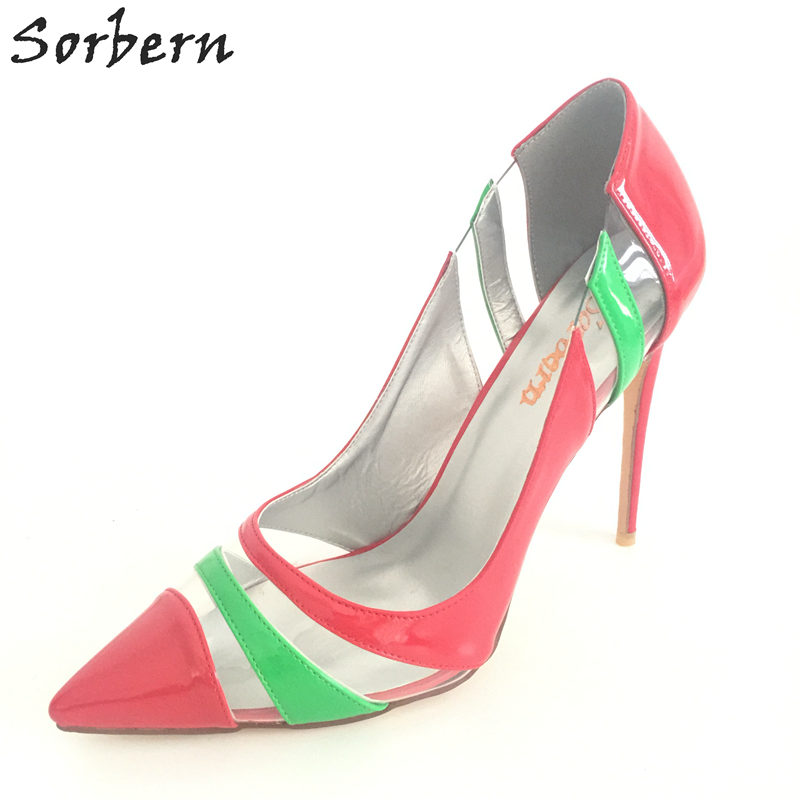 Sorbern Women Pumps Plus Size Pointed Toe High Thin Heel Ladies Party Shoes Slip On Cheap Modest Chaussure Femme Custom Color sorbern nude flat heel pointed toe women shoes rivets slip on spring shoes for women 2017 women flat shoes custom soulier femme