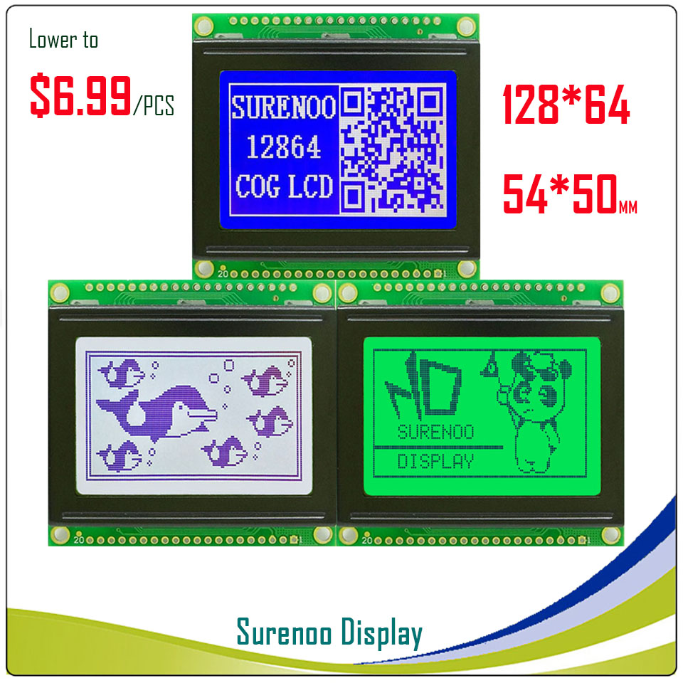 PCB Size: 54X50MM Graphic Matrix LCD Module Display Screen 12864 build-in KS0108 Controller with LED BacklightPCB Size: 54X50MM Graphic Matrix LCD Module Display Screen 12864 build-in KS0108 Controller with LED Backlight