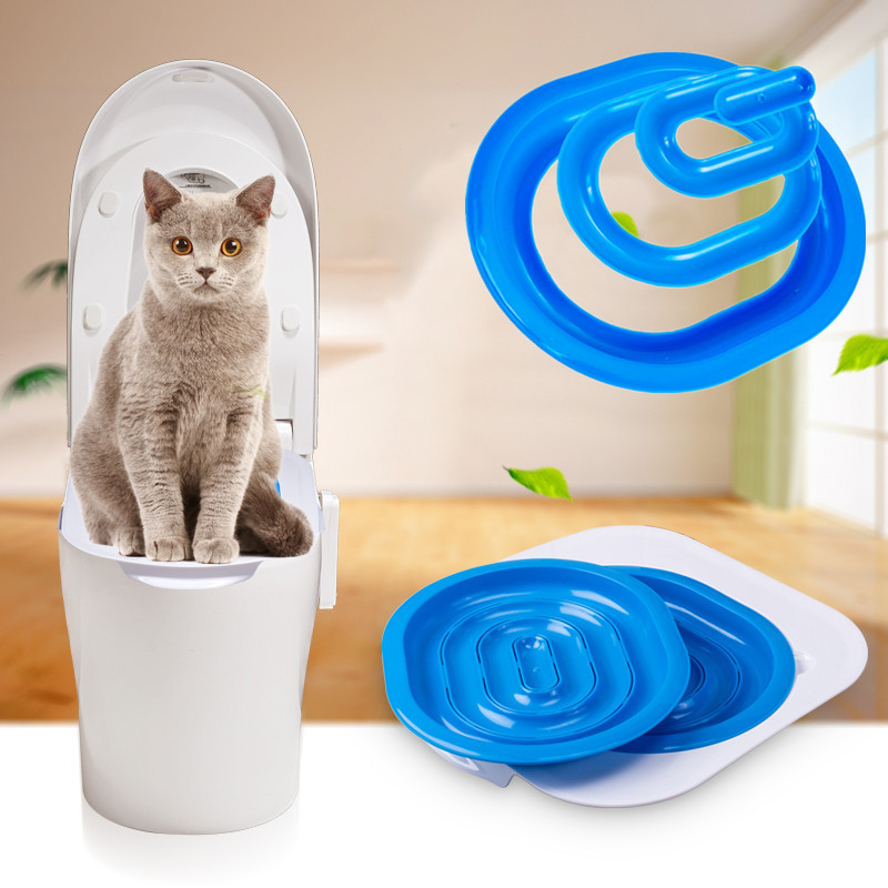 New Creative Cat Toilet Training Kit Plastic Indoor Cat Litter Tray Wc Pet Toilet Trainer Litter Cleaning Supply For Cat Puppy