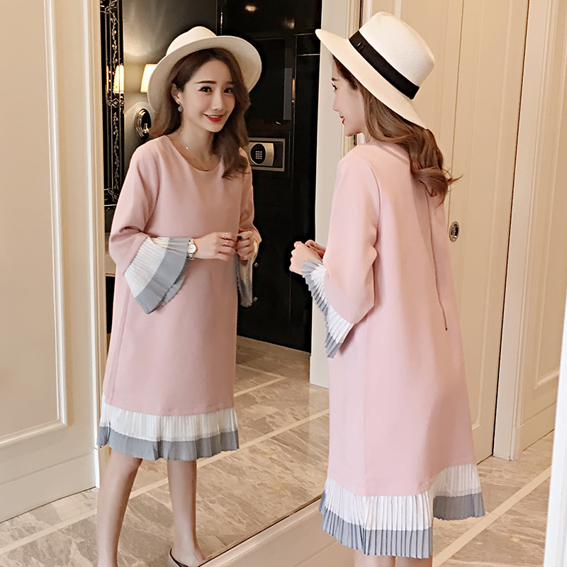 Spring Maternity Dresses Long Sleeve Pregnancy Dress Chiffon Clothing Ruffles Casual Fashion Clothes For Pregnant Women Out Wear