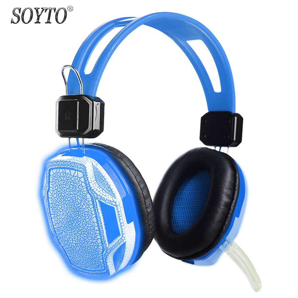 SOYTO Original Wired Gaming Headphones LED Light Stereo Bass Headset fone de ouvido Earphones auriculares With Mic for PC Gamers gaming headset stereo v2 earphone gamer led light hi fi headphones mp3 with microphone for computer pc fone de ouvido