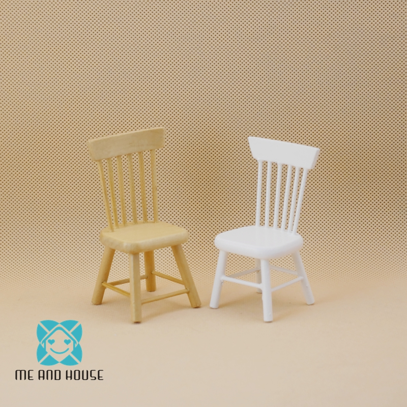 Handmade White Wooden Chair Bar Stool for 1:12 Dollhouse Miniature Furniture