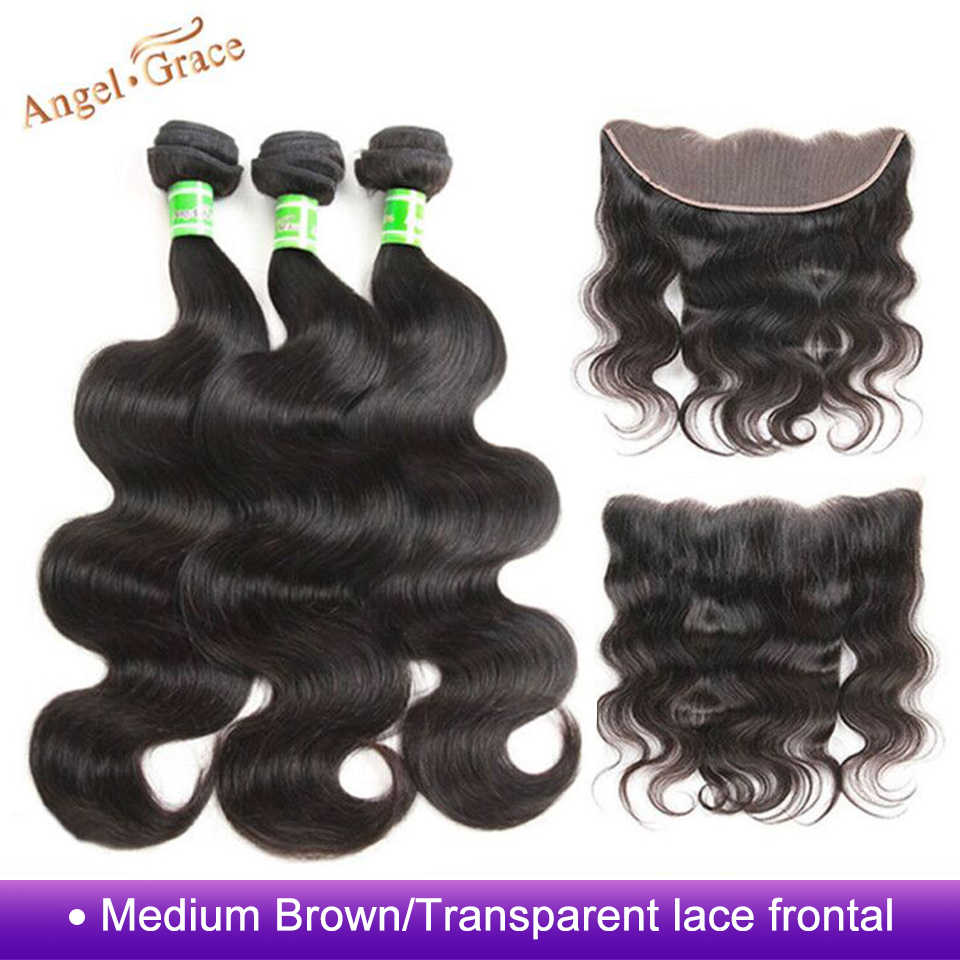 Angel Grace Brazilian Body Wave Bundles With 13 4 Brown Transparent Lace Frontal Closure Remy Human