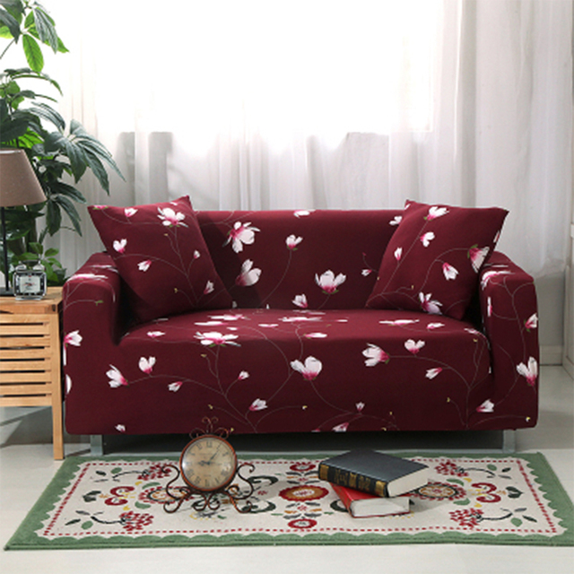 Yazi Wine Red Stretch Single Double Seat Sofa Cover For 1 2 3 4 Seater Couch