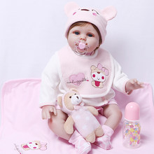 big size 3/4 Silicone Reborn Dolls 55cm Toddler PP Cotton Body Dolls Brinquedos Boutique Gift lol Boneca Reborn for sale toy N67(China)