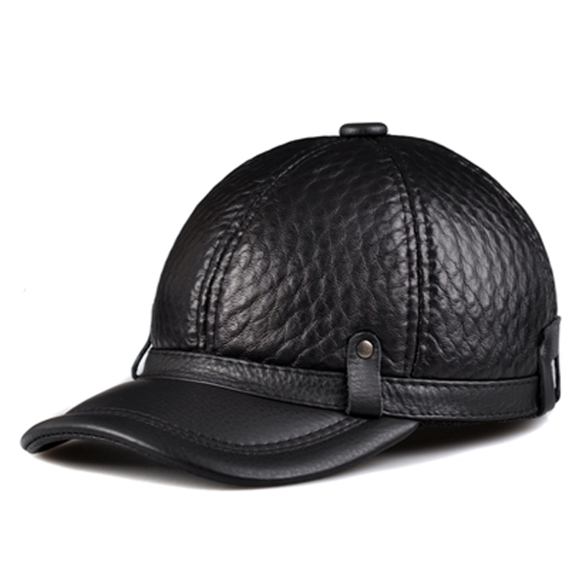 RY131 Male 2019 Spring Winter Genuine Leather Cowhide Head Protection Baseball Caps Black Plaid Embossing Adjustable