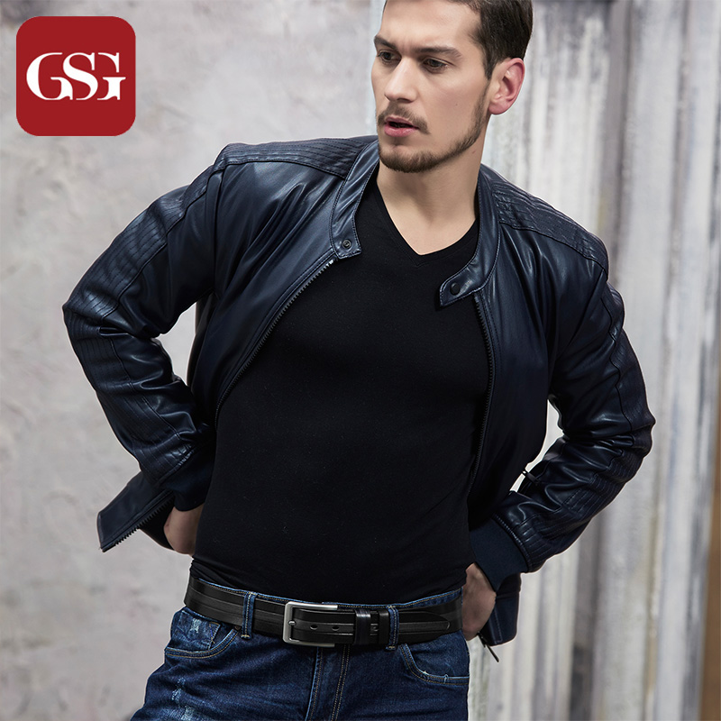 GSG Mens Pin Buckle Cowhide Leather Belts Fashion Patchwork Handmade Colored Casual Jeans Wide Belts for Males Black 110 115 120