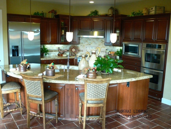 Antique Solid Wood Kitchen Cabinet(LH-SW018) classic oak wood kitchen cabinet lh sw027