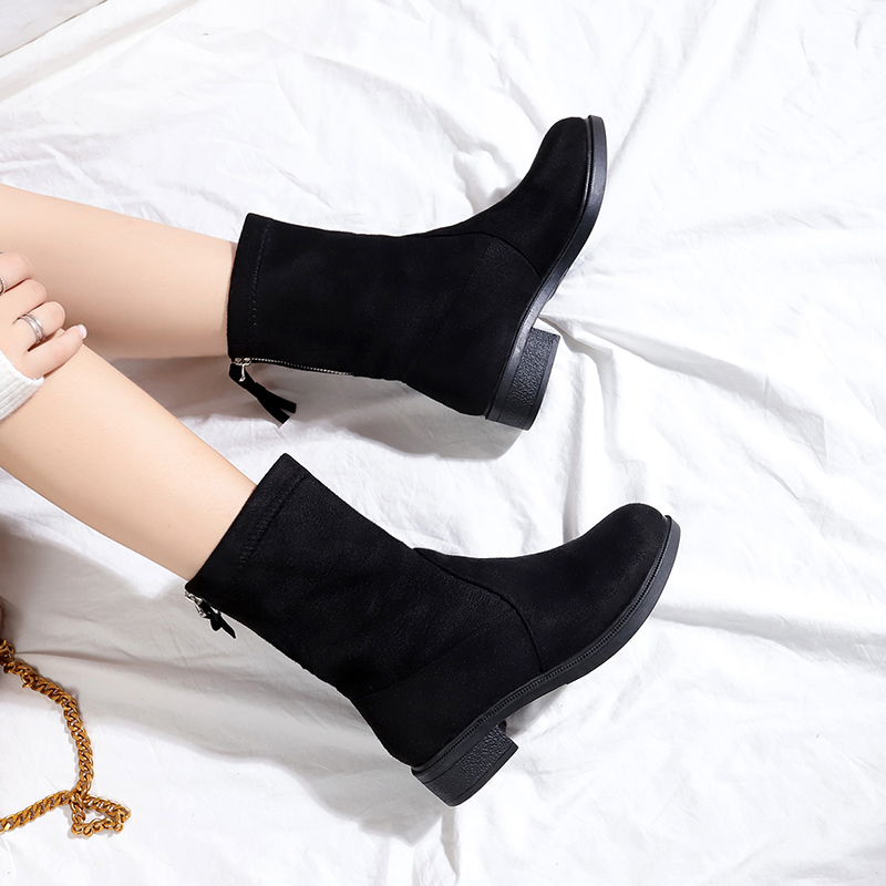 72385ed3dd9 Women Boots 2019 New Square Heel Platforms Low Pump Boots Shoes Woman Botas  Suede Leather Mujer Female Autumn Winter Ankle Boots-in Ankle Boots from  Shoes ...