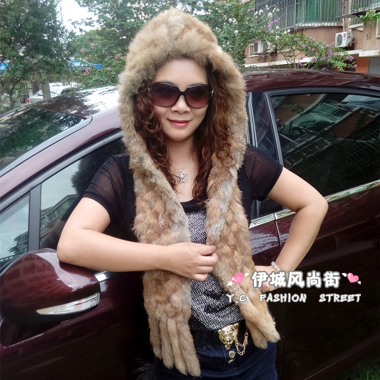 Good quality! 2014 winter snow cap 100% genuine rabbit fur knitted women's scarf hat set one piece muffler scarf hat set tb