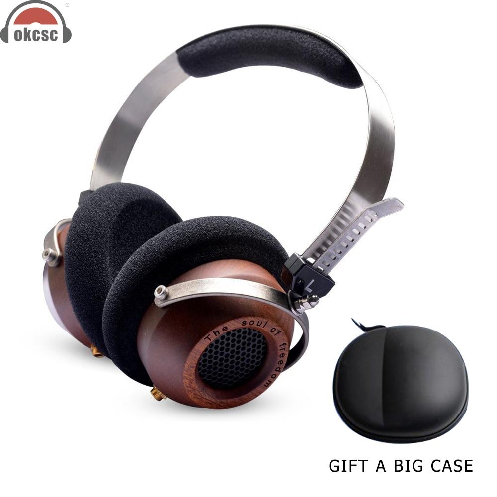 OKCSC M1 Wooden HiFi Headphones DIY Semi Open Back Stereo Headset Earphones 57mm Driver 3 5mm