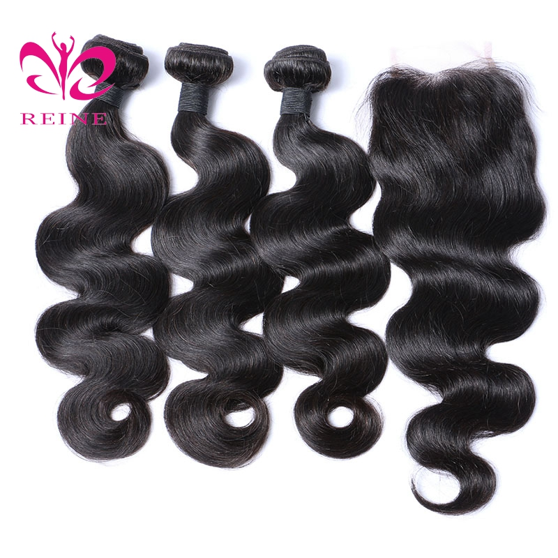 Reine Pre-Colored Body Wave Human Hair Bundles With Closure Brazilian Hair Weave 3/4 Bundles with Closure Non Remy Hair weft