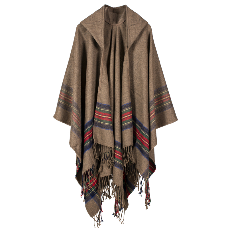 New fashion women winter shawl and wraps thick warm blanket scarf oversize hooded black ponchos and capes striped tassel echarpe
