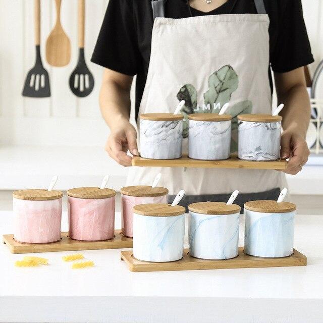 Marble Ceramic Condiments Jar Household Seasoning Box Wooden Tray Porcelain Spice Jar Sauce Pot Salt Sugar