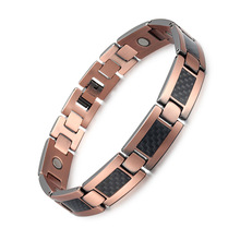 Jewelry Selling Pure Copper Carbon Fiber Magnetite Hand-ornament European and American Fashion Bracelet