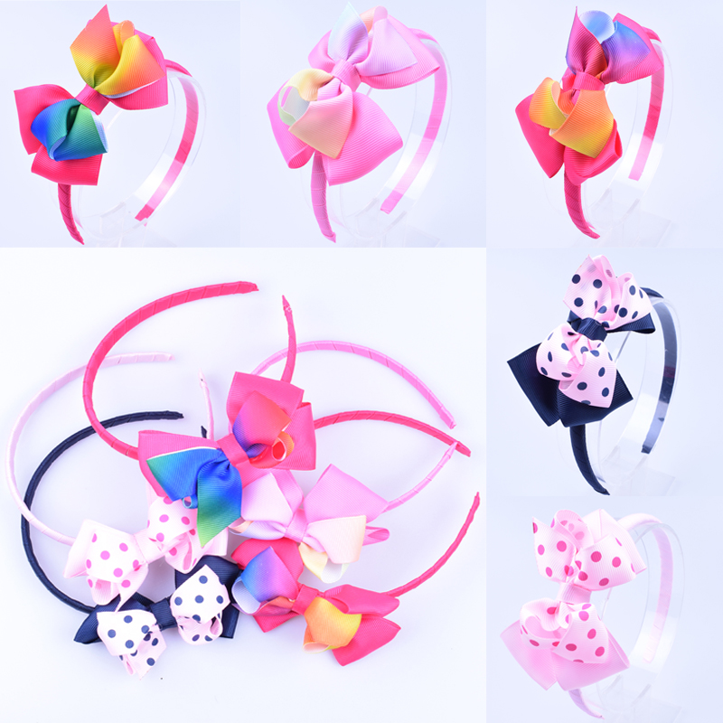 1pcs Handmade Rainbow Ribbon Bows With Plastic Hairbands Headbands For Children Boutique Kids Hair Accessories headwraps
