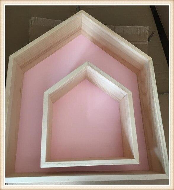 INS Nordischen Stil Holzregale Kinderzimmer Holz Haus Clapboard Regale Wand Handwerk  Dekoration Ornament