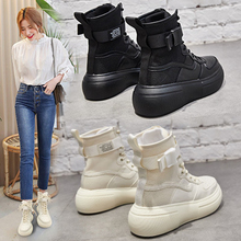 SWYIVY Woman Winter Boots 2019 Popular 6 Cm High Top Shoes Platform Sneakers Black Genuine Leather Ankle For Boot