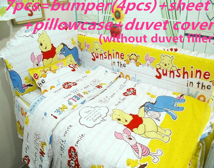 Promotion! 6/7PCS Cartoon Newborn Baby Bedding Set Girl Baby Cradle Crib Cot Bedding Set ,duvet Cover ,120*60/120*70cm