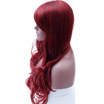 DIFEI Long Red Wig Wavy synthetic Wigs for Black Women Side Part Heat Resistant Wig Red Cosplay Wig