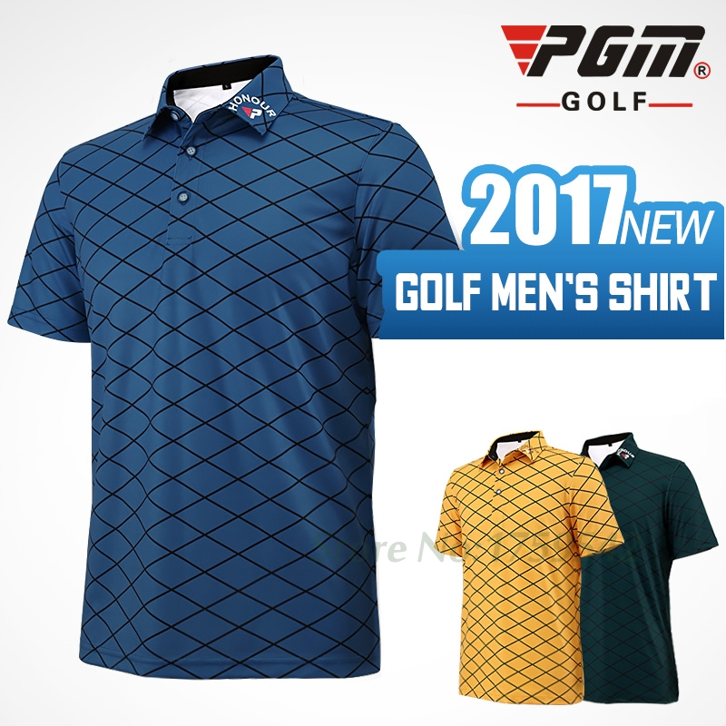 2017 NEW Mens Golf Apparel Short Sleeve Men T-shirt 86% Polyester 14% Spandex Sport Polo shirt
