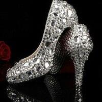 2016 Popular Crystal High Heel Silver Color Wedding Dress Shoes Women S Diamonds And Rhinestone Bridal