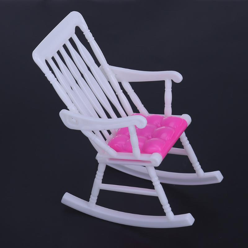 1pc Mini Doll Rocking Chair for Barbie Accessories Doll House Furniture Dollhouse Room Decoration Children Girls Toy Gift mini dollhouse mini furniture model living room doll baby baby doll
