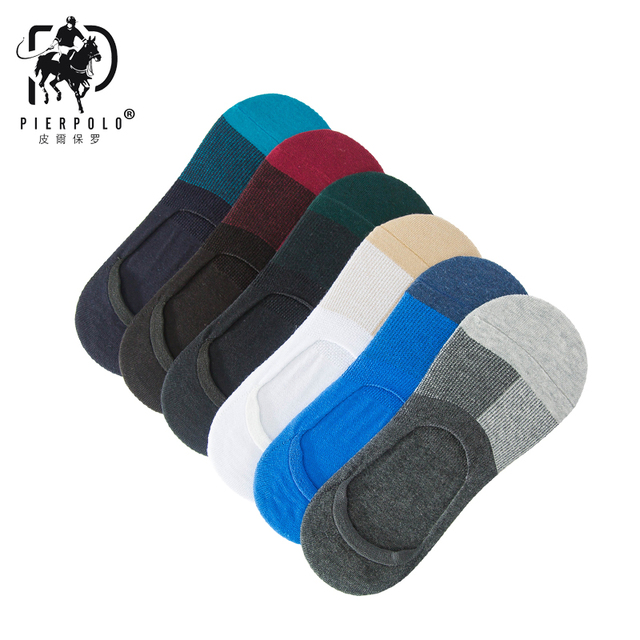 PIER POLO Mens Socks Spring Casual And Summer New Cotton Invisible Socks Breathable Men's patchwork sluggard sock direct sale