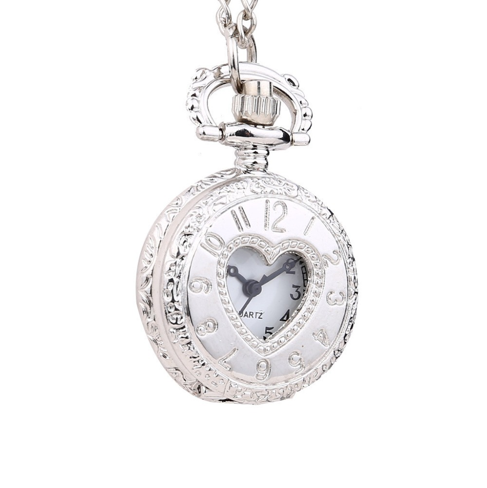 Fashion Women Pocket Watches Retro Personality Retro New Love Hollow Digital Quartz Pocket Watch Nurses Watches Ladies Clock /C